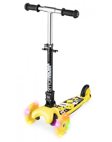 Трехколесный самокат со складной ручкой и 3 светящимися колесами Small Rider Randy Flash (желтый глянец)