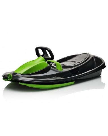 Детские пластиковые санки-снегокат c рулем и тормозом Gismo Riders Stratos (Чехия) (черно-зеленый)