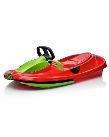 Детские пластиковые санки-снегокат c рулем и тормозом Gismo Riders Stratos (Чехия) (красно-зеленый)