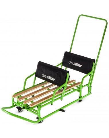 Детские санки-трансформер для двойни с колесиками и толкателем Small Rider Snow Twins 2 (зеленый)