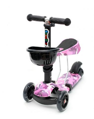 Самокат scooter  3в1 военный розовый