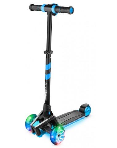 Самокат с ревом мотора, свет.колесами, свет.платформой Small Rider Premium Pro (синий)