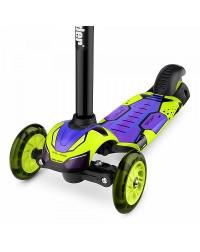 Детский трехколесный самокат со свет.колесами Small Rider Turbo (лайм)