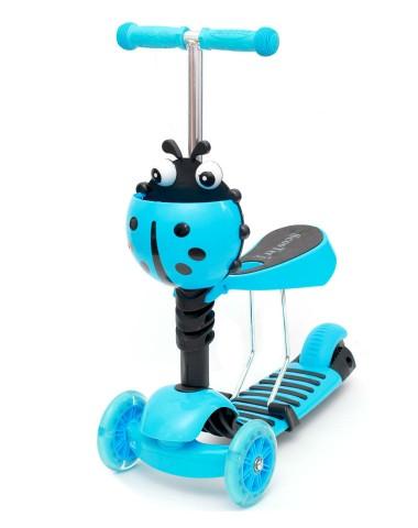 Самокат scooter 3в1 божья коровка голубой