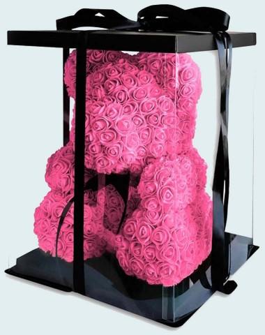 Мишка 40 см  из роз розовый