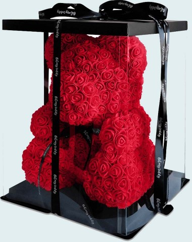 Мишка 40 см  из роз красный