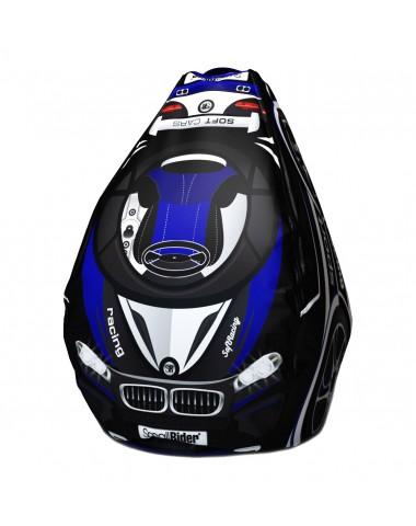 Мешок-рюкзак-подушка, спинка для тюбингов ST4, Small Rider Bags Машинки (ВМ синий)