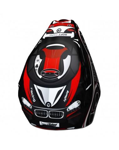Мешок-рюкзак-подушка, спинка для тюбингов ST4, Small Rider Bags Машинки (ВМ красный)